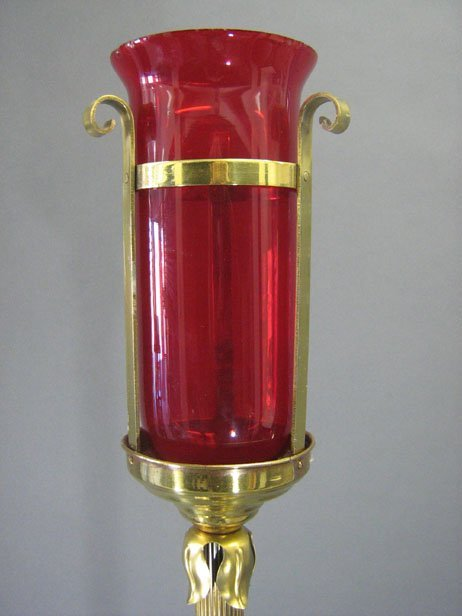 1013: TALL BRASS ALTAR CANDLE STAND - 2