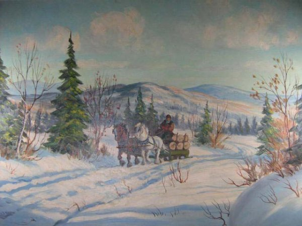 1006: Joseph Bernard Canadian Quebec Logging Painting
