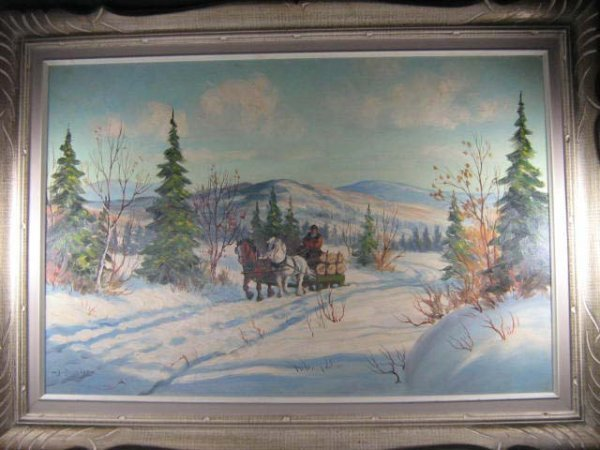 1006: Joseph Bernard Canadian Quebec Logging Painting - 2