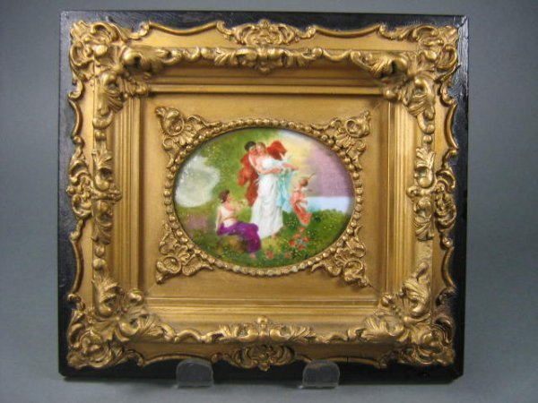16: 19th Century Oval Porcelain Panel Abnd Artwork