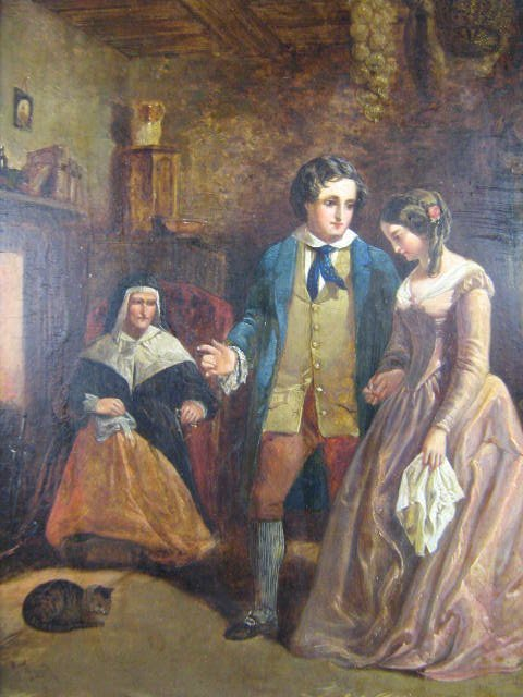 49: John Faed Betrothal Oil Painting