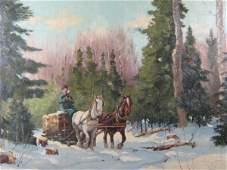 154: (bears signature) F.S. Coburn Logging Scene