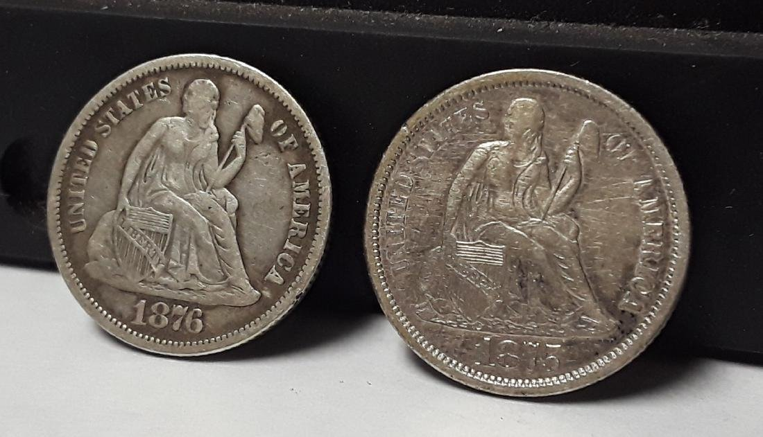 Lot of 2 Silver Seated Liberty US Dimes