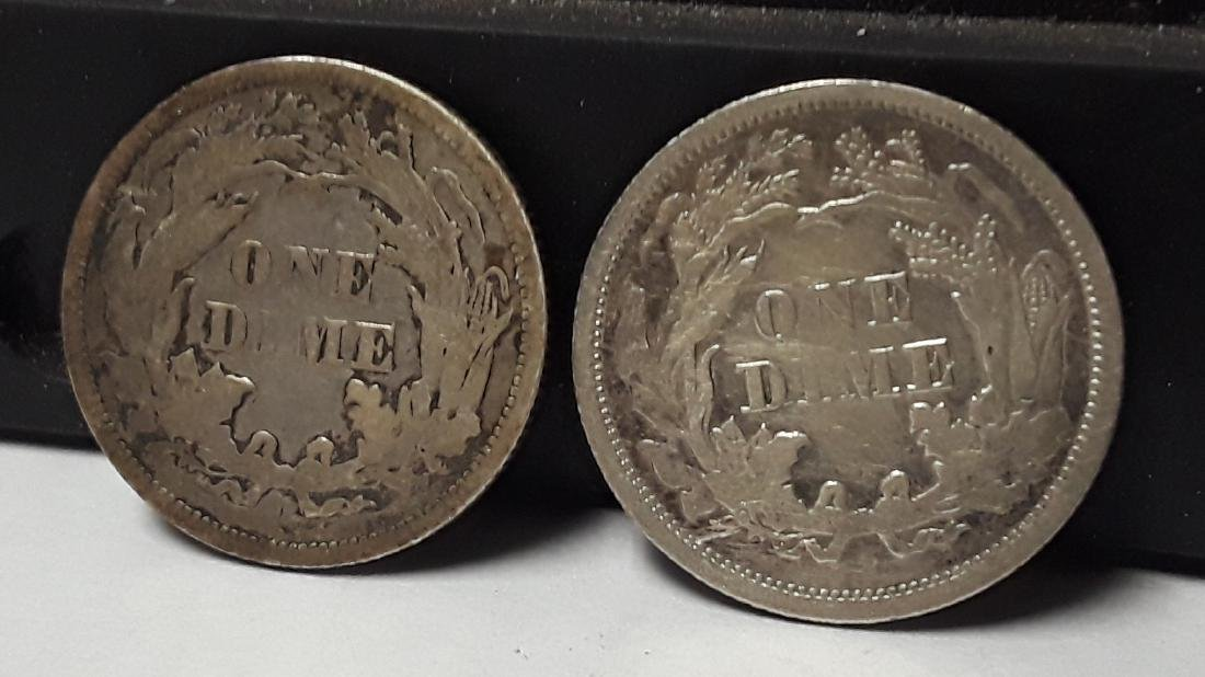 Lot of 2 Silver Seated Liberty US Dimes - 2