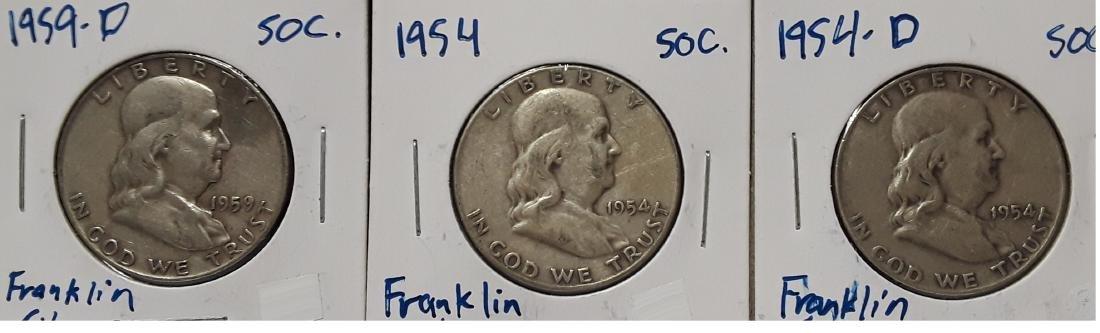 Lot of 3 Silver Franklin US Half Dollars