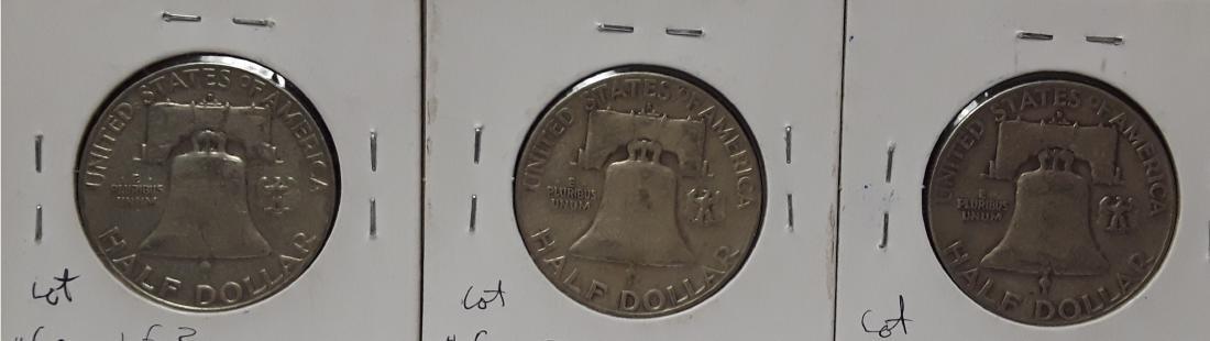 Lot of 3 Silver Franklin US Half Dollars - 2