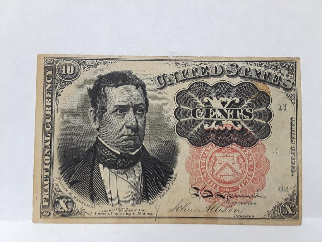 1849 10 Cent Us Fractional Currency Note
