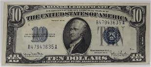 1934 US Silver Certificate $10 Note
