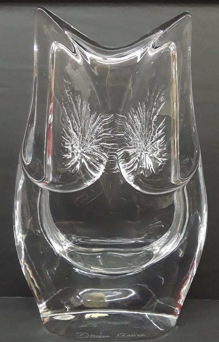 Large Signed Daum Crystal Owl