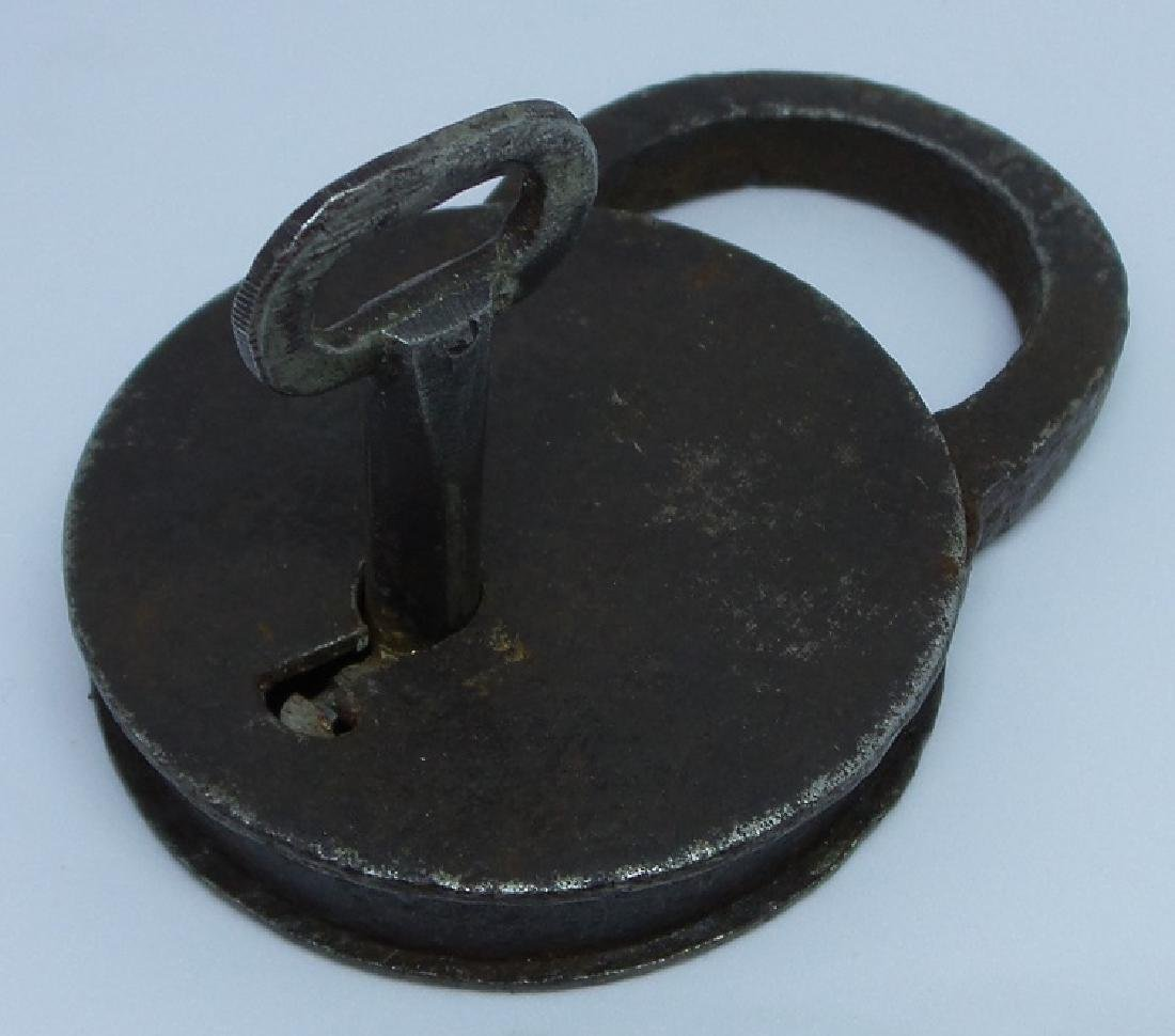 Antique 19th Century European Iron Lock with Key