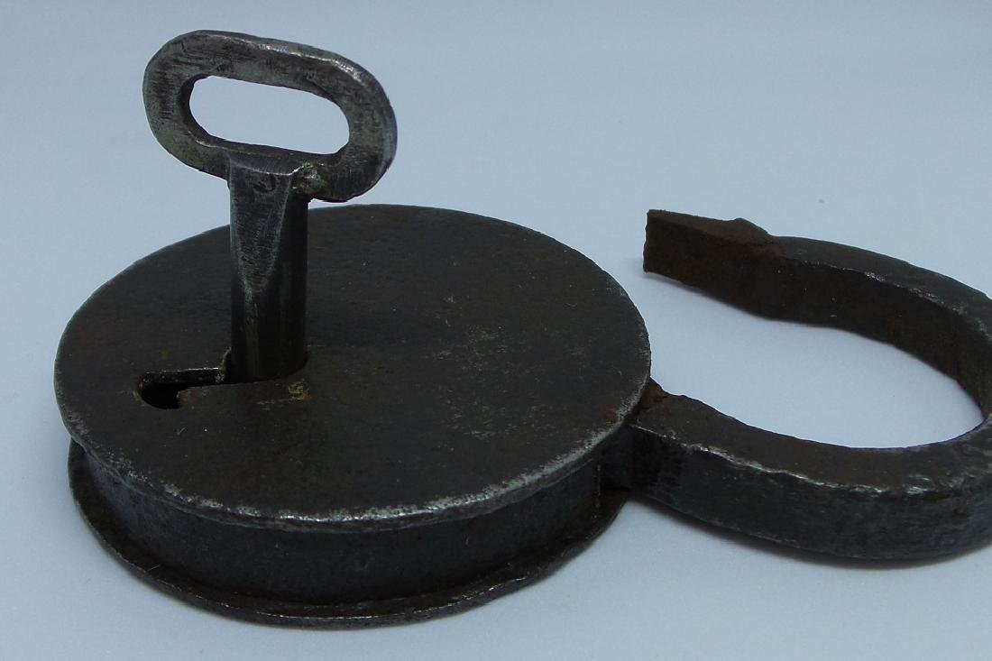 Antique 19th Century European Iron Lock with Key - 3