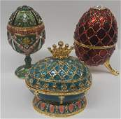 Lot of 3 Beautiful Faberge Style Enamel Eggs
