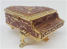 Enamel Rhinestone Piano Trinket Box
