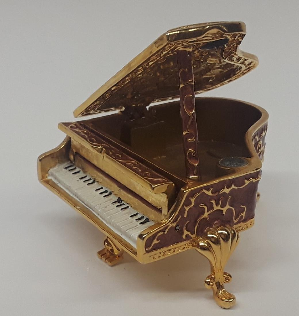 Enamel & Rhinestone Piano Trinket Box - 3