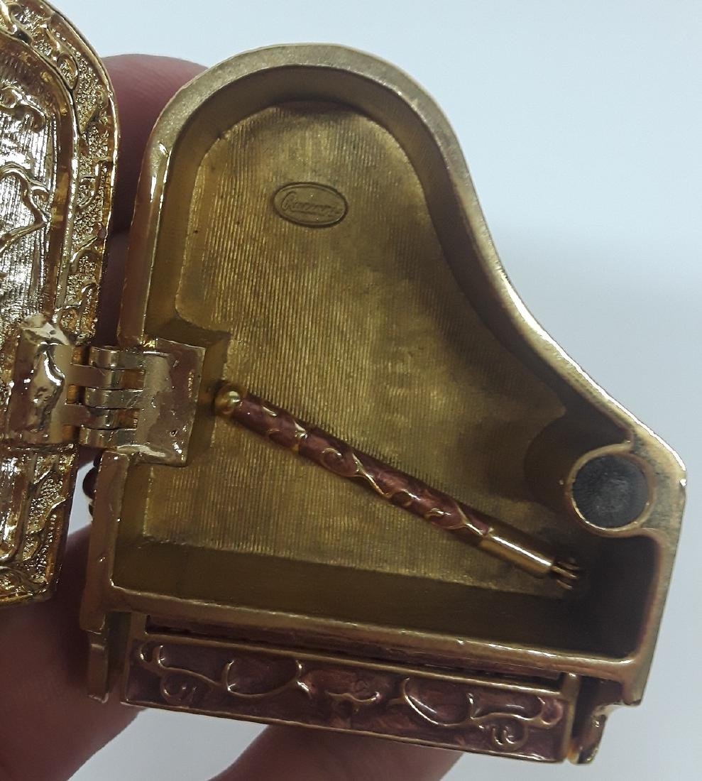 Enamel & Rhinestone Piano Trinket Box - 4