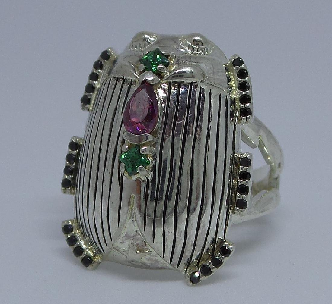 French Sterling Silver Egyptian Revival Scarab Ring