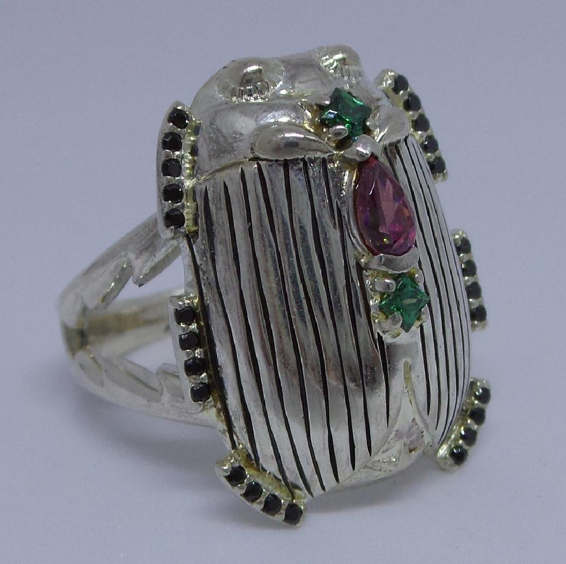 French Sterling Silver Egyptian Revival Scarab Ring - 2