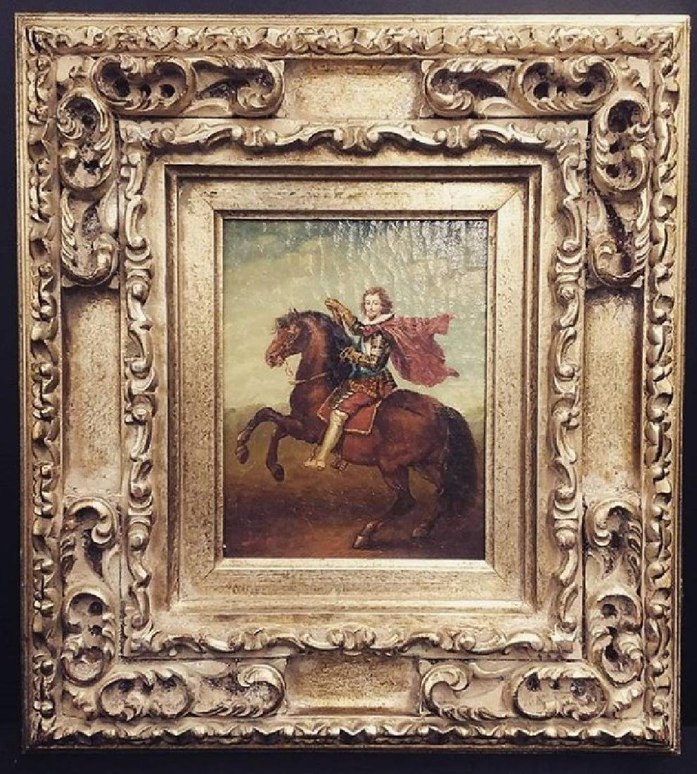 Vintage Signed Nobleman on Horse Oil Painting