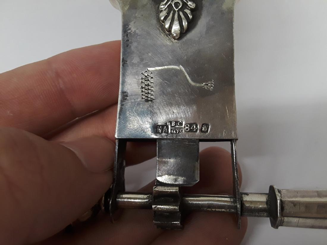 Antique Russian 84 Zlotnik Silver Jewish Rattle - 6