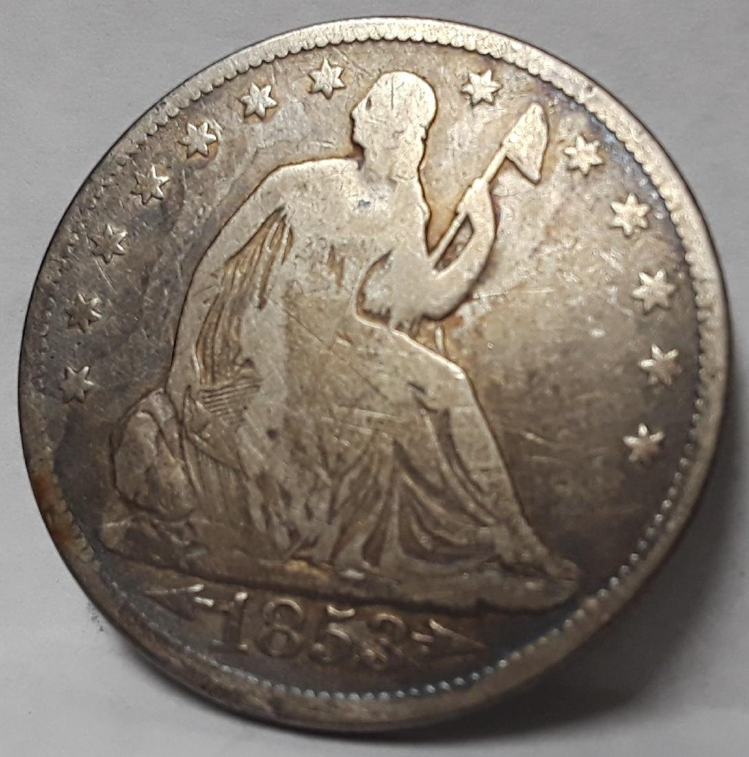 1853 Seated Liberty US Silver Half Dollar