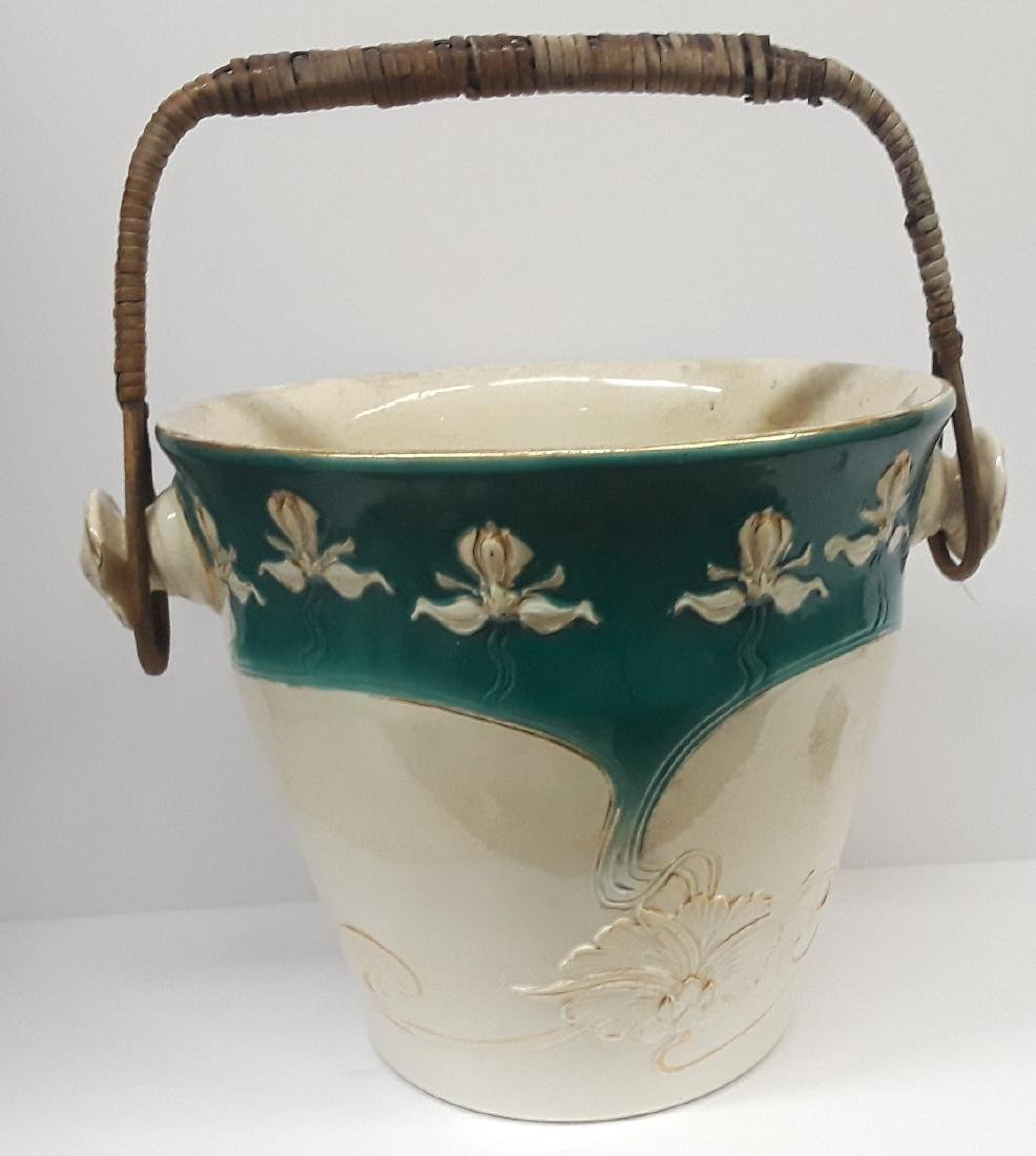 Antique Large French Art Nouveau Porcelain Ice Bucket - 2