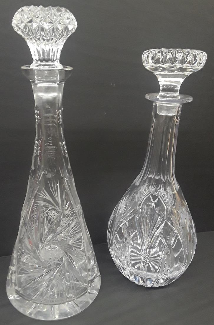 Pair of Large Vintage Crystal Decantors