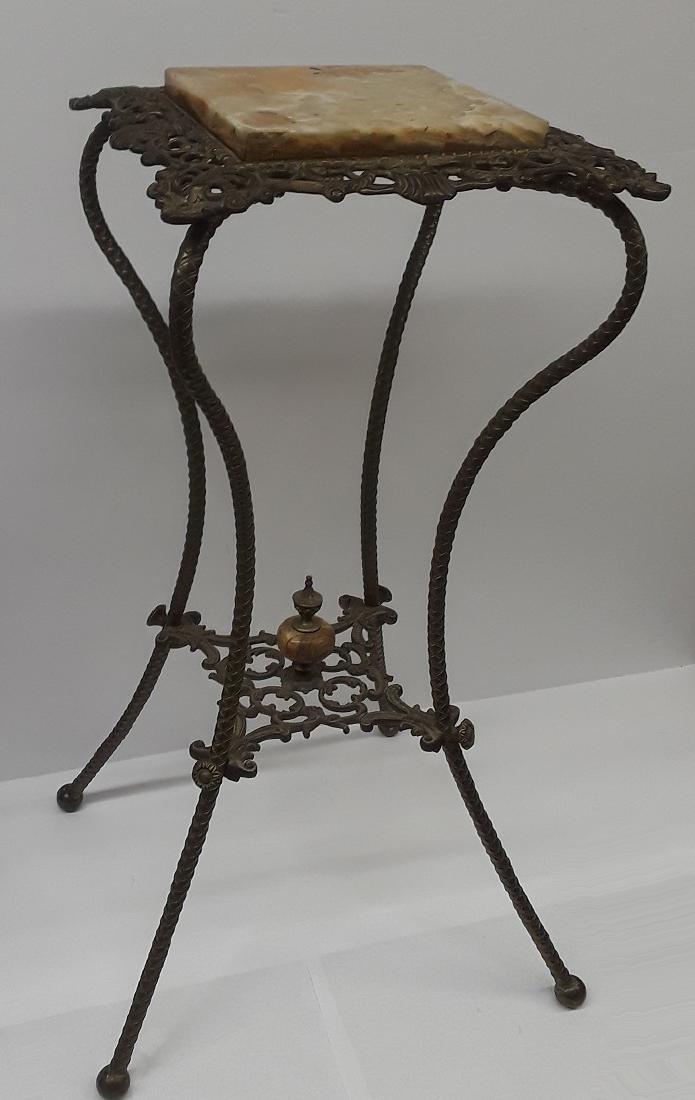 Antique Bronze & Onyx Pedestal Table