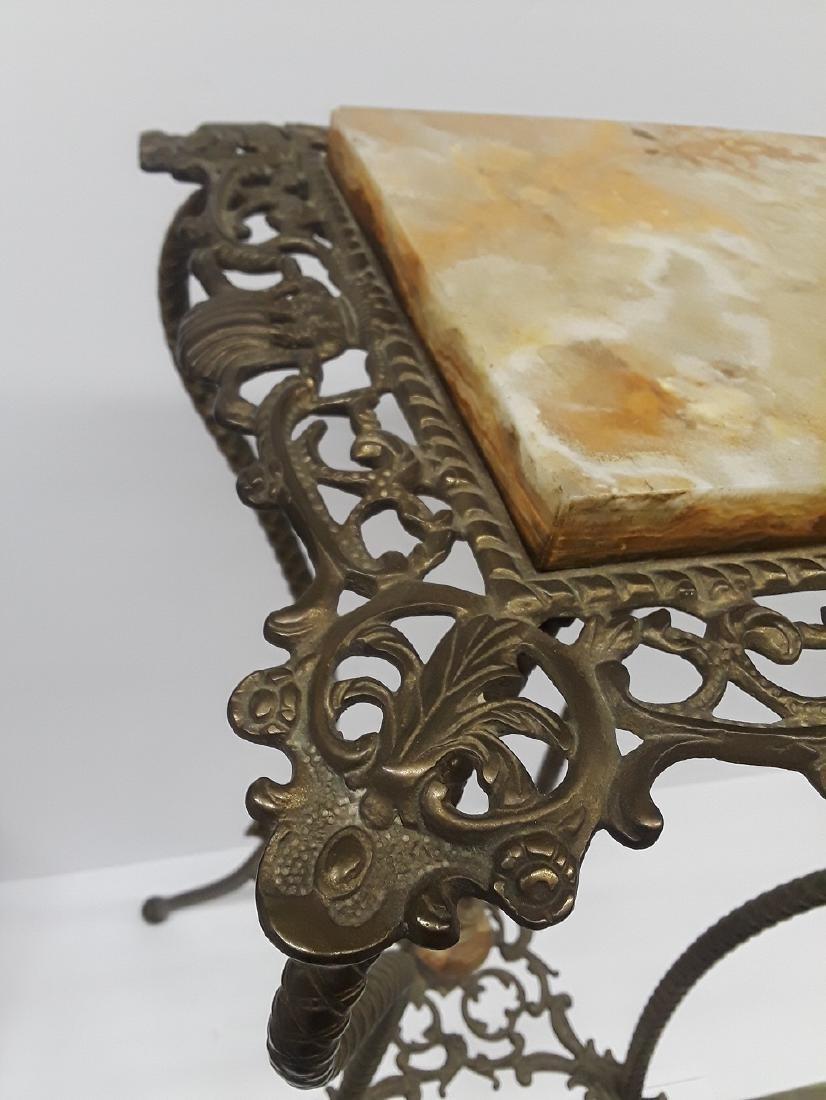 Antique Bronze & Onyx Pedestal Table - 2