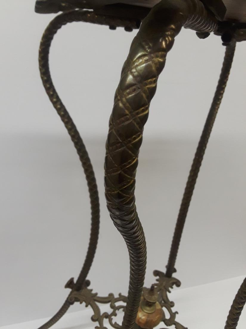Antique Bronze & Onyx Pedestal Table - 3