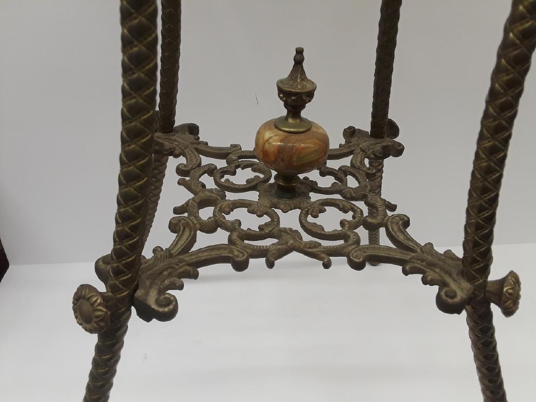Antique Bronze & Onyx Pedestal Table - 4