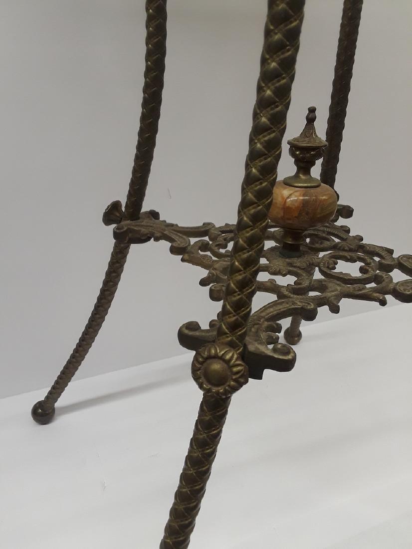 Antique Bronze & Onyx Pedestal Table - 5