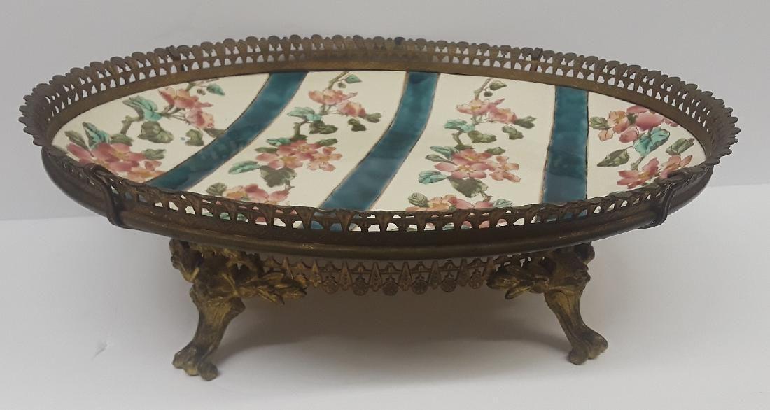 19th Century French Bronze & Porcelain Center Piece