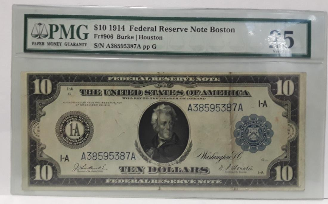 1914 Large US Silver Certificate $10 Note Graded