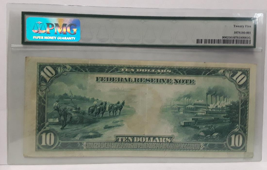 1914 Large US Silver Certificate $10 Note Graded - 2