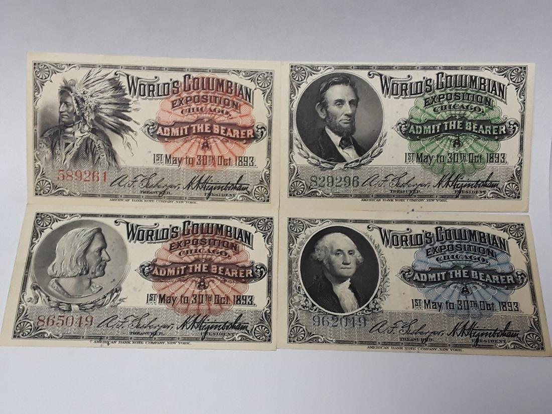Set of 4 1893 World's Columbian Exposition Tickets