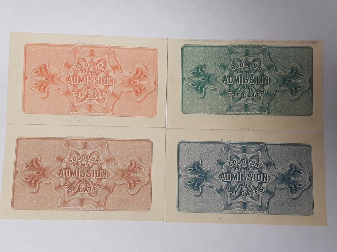 Set of 4 1893 World's Columbian Exposition Tickets - 2