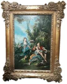 Large Victorian Style Oil On Canvas Signed Painting