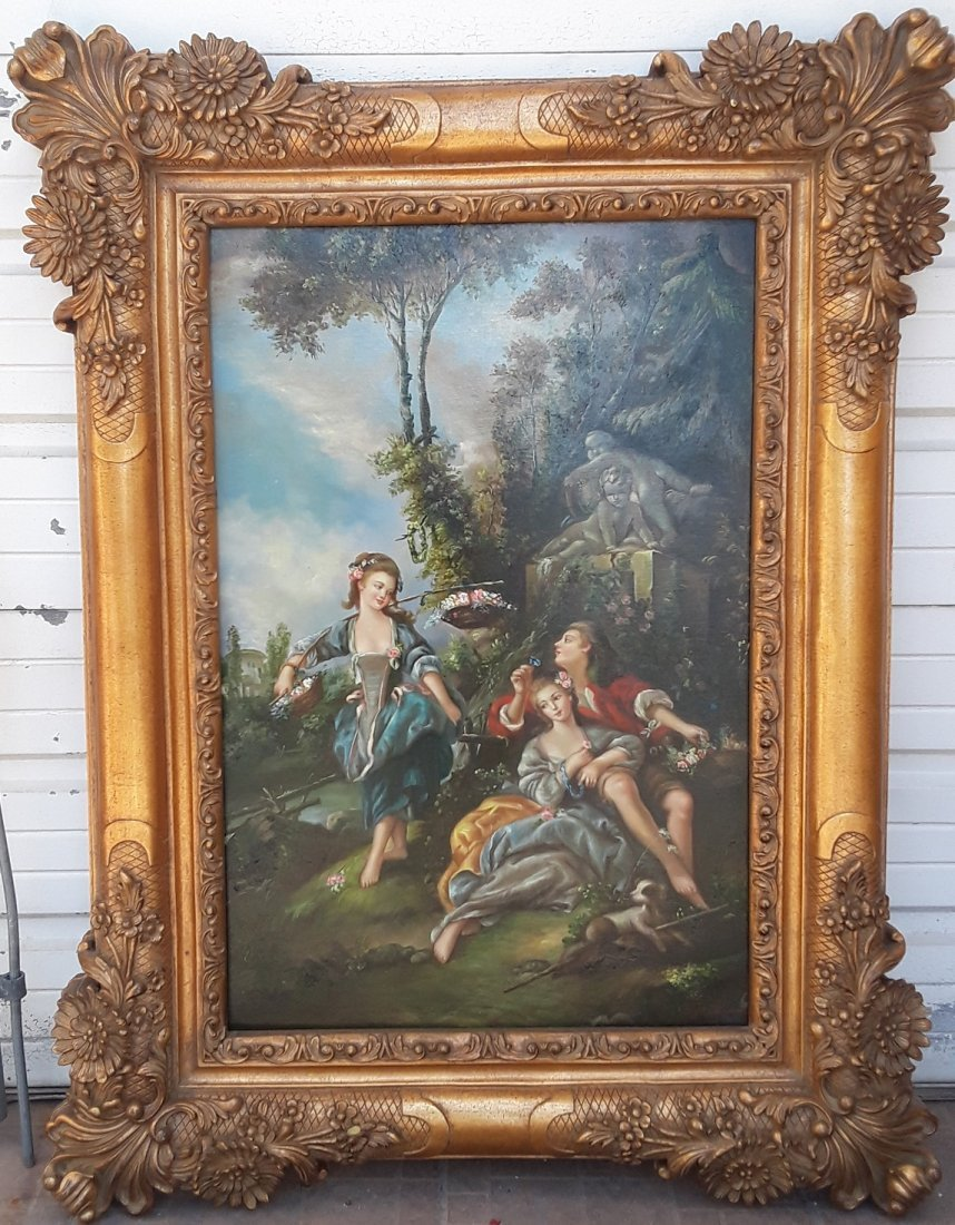 Large Victorian Style Oil On Canvas Signed Painting - 2