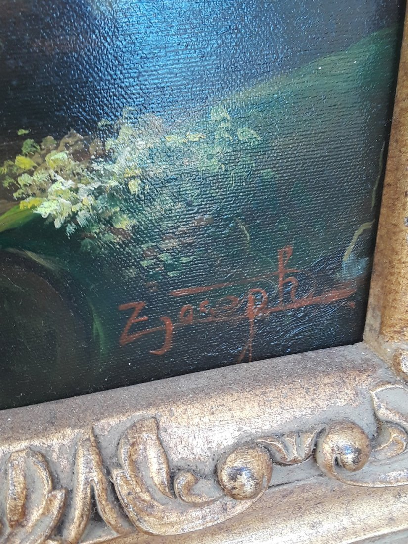 Large Victorian Style Oil On Canvas Signed Painting - 5