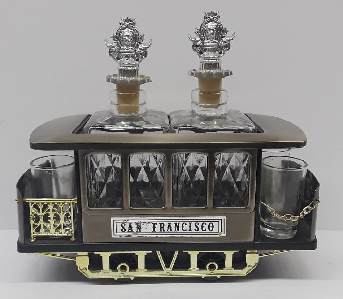 Vintage Musical Trolly Car Bar / Liquor Set