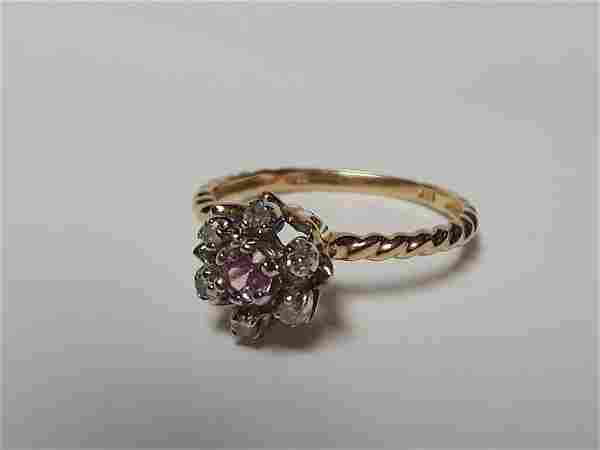 10k Gold Pink Saphire And Diamond Ring