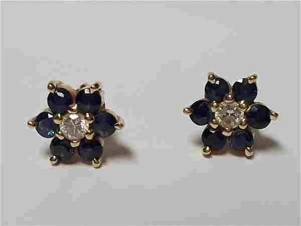 Beautiful 14k Gold Diamond & Sapphire Earrings