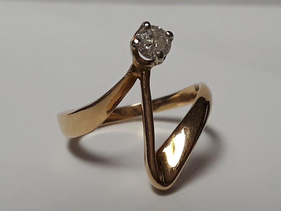 Vintage Modernist 14k Gold & Diamond Ring