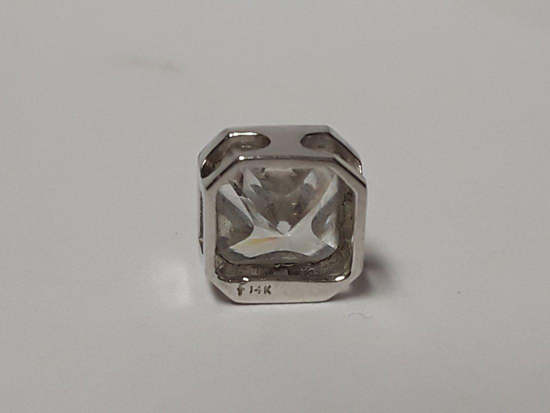 14kt White Gold & Large CZ Slider Pendant / Charm - 2
