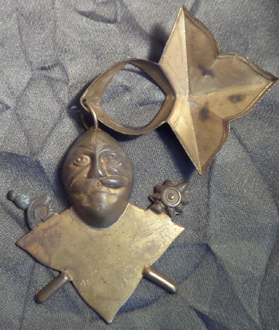 Mysterious Antique Brass Mason Pendant - 2