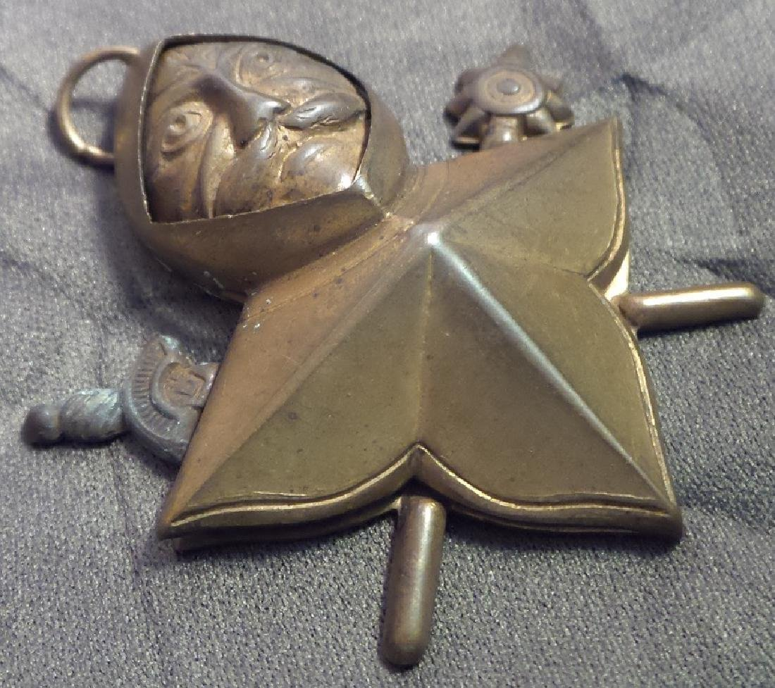 Mysterious Antique Brass Mason Pendant - 3