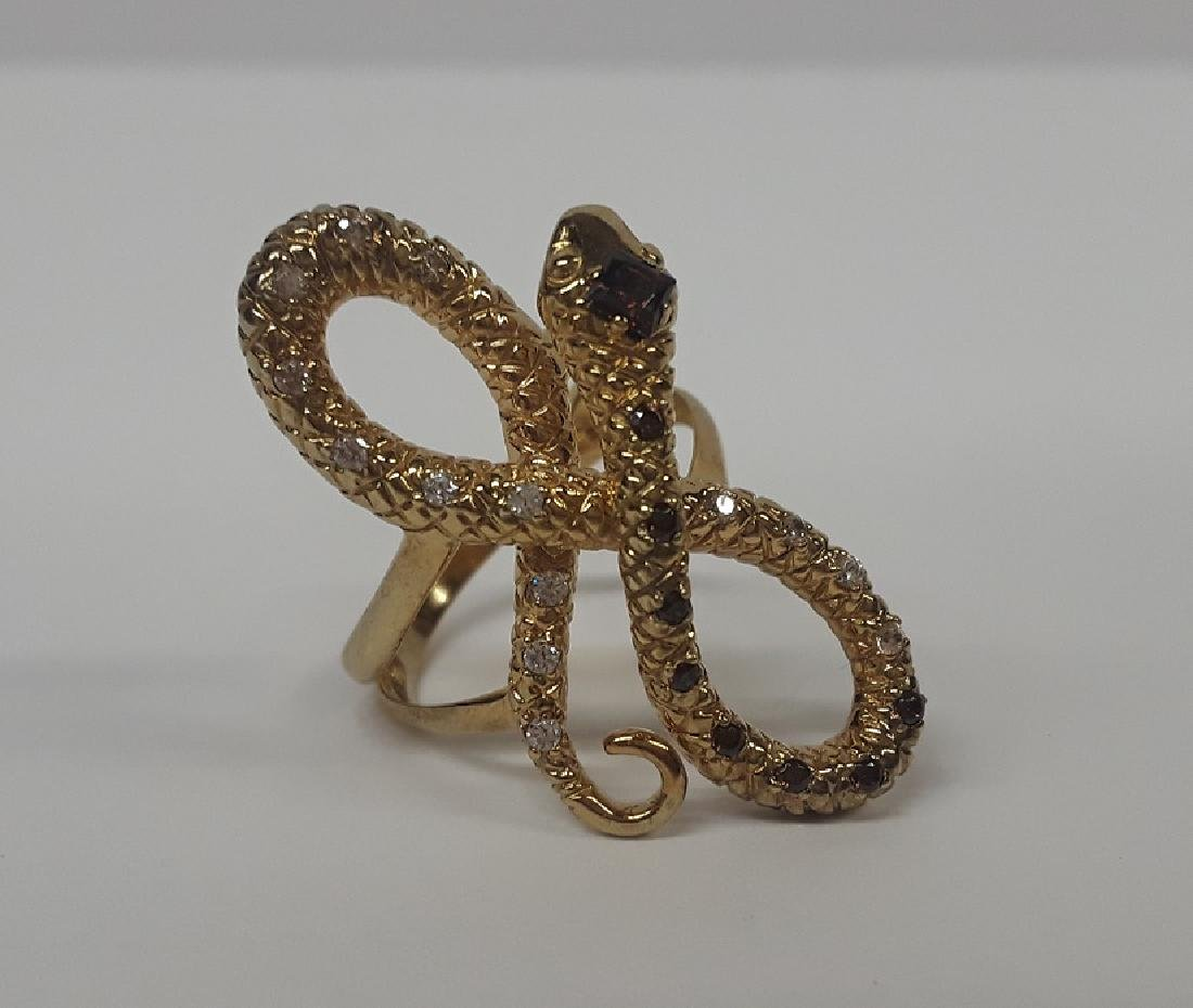 Beautiful French Gold Over Sterling Snake Ring