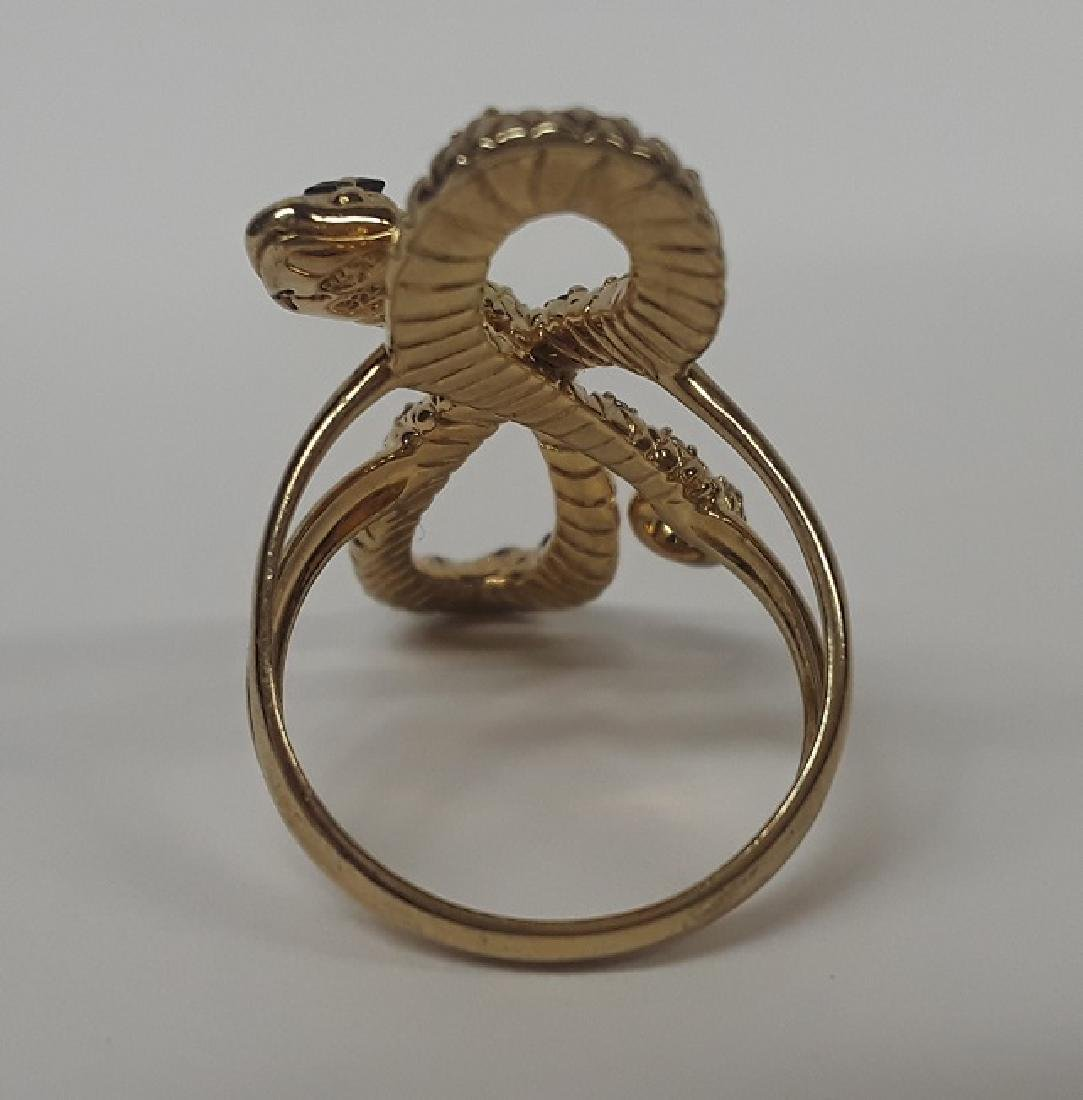Beautiful French Gold Over Sterling Snake Ring - 2