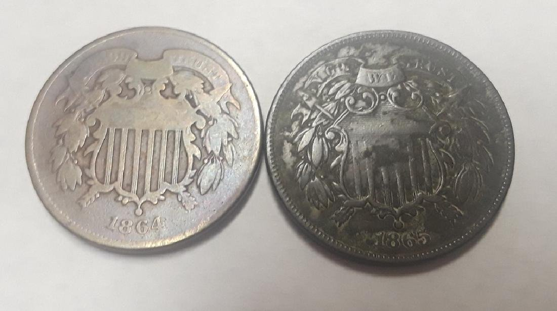 Lot of 2 Civil War Era 2 Cent Pieces