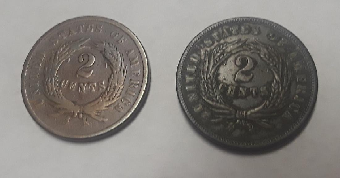 Lot of 2 Civil War Era 2 Cent Pieces - 2